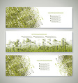 Banners abstract headers with green abstract vector image
