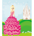 Beautiful young queen in front of her castle vector image vector image