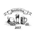 beer glass sketch mug oktoberfest festival banner vector image vector image