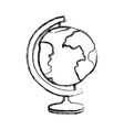 blurred thick silhouette of hand drawn earth globe vector image vector image