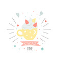 cacao time card with yellow cup holiday card vector image vector image