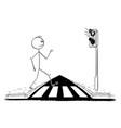 cartoon man walking on pedestrian crossing or vector image vector image