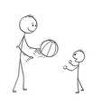 cartoon of father playing with ball with son vector image vector image