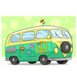 cartoon retro van bus with peace sign and flower vector image vector image