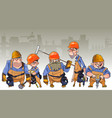 cartoon team of men in helmets and clothing vector image vector image