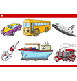 cartoon vehicle caracters set vector image