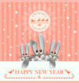 christmas card in pink with three hares vector image vector image