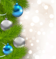 Christmas glowing background with fir branches and vector image