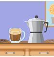 coffee cup and moka pot vector image vector image