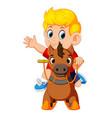 cute blonde boy on a toy horse vector image