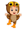 cute kids cartoon wearing owl bird costume vector image