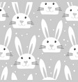 cute seamless pattern with white easter bunny vector image vector image