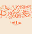 fast food hand drawn typography design vector image vector image