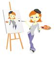 Female paint artist vector image