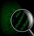 fingerprint and magnifying glass vector image vector image