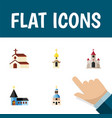 flat icon church set of religion christian vector image vector image