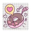 food cute sweet donut shaped cat cartoon on grid vector image