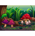 Giant mushrooms in the forest vector image vector image