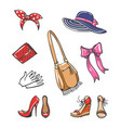 girls fashion accessories icons vector image vector image