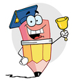 Graduate Pencil Character Ringing A Bell vector image vector image