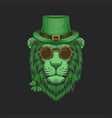 green lion head st patricks day vector image vector image