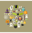 Halloween Flat Icons Set Over Light Brown vector image vector image