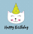 happy birthday background wuth little cute cat vector image vector image
