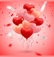 happy valentines day red pink and orange balloon vector image