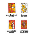 jazz music festival logo set vector image