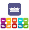 jewelry crown icons set flat vector image vector image