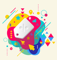 Label on abstract colorful spotted background with vector image vector image