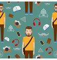 Man hipster flat style seamless pattern vector image vector image