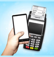 mobile payment trough pos terminal vector image