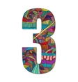 Number 3 with hand drawn abstract doodle pattern vector image vector image