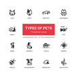 pet types - modern simple silhouette line design vector image vector image