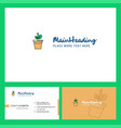 plant pot logo design with tagline front and vector image
