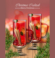 punsh drink glasses winter christmas cocktails vector image