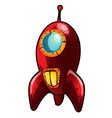 red cartoon rocket isolated on white background vector image