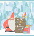 santa claus celebrating christmas in winter forest vector image
