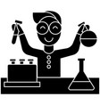scientist kid lab tests icon vector image vector image