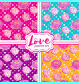 seamless pattern set with blooming flowers vector image