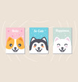 set cute dog cards with messages vector image vector image