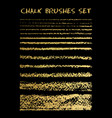 set gold chalk brushes lines with chalk vector image