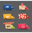 set trucks with inscriptions featuring vector image vector image