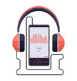 smartphone with headset earphones and vector image