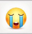 smiley crysmiling emoticon yellow face with vector image