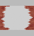 template hole in red brick wall vector image vector image
