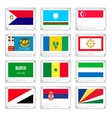 The Countries Flags on Metal Texture Plates vector image vector image