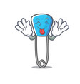 tongue out safety pin mascot cartoon vector image