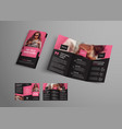 tri-fold brochure template with diagonal elements vector image
